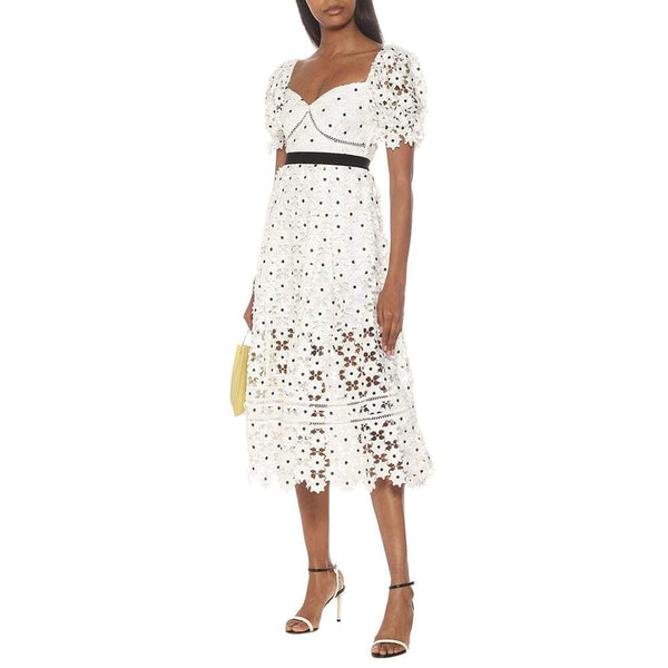 Self Portrait Daisy Grosgrain Trimmed Guipure Lace Midi Dress Zoom Boutique Store dress Self Portrait Daisy Grosgrain Trimmed Lace Midi Dress | Zoom Boutique