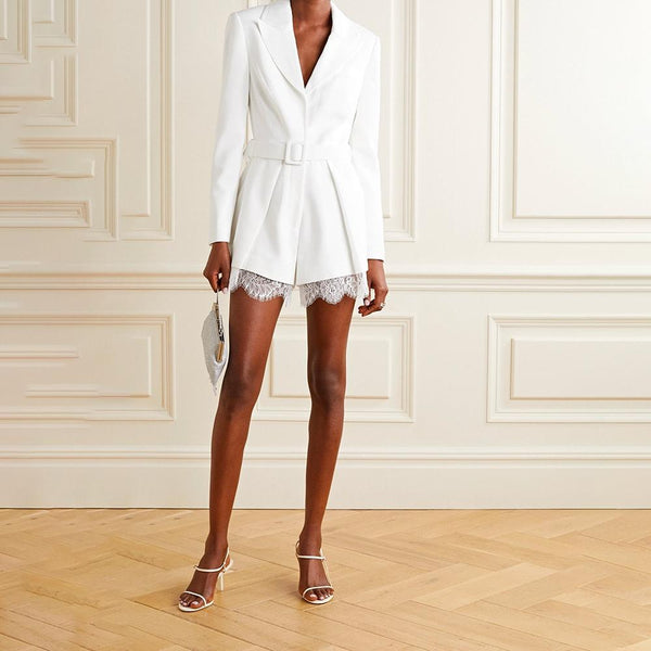 Self Portrait Lace and Satin Trimmed Crepe Blazer Playsuit RRP$455 Zoom Boutique Store playsuit Self Portrait Lace Satin Trimmed Crepe Blazer Playsuit | Zoom Boutique