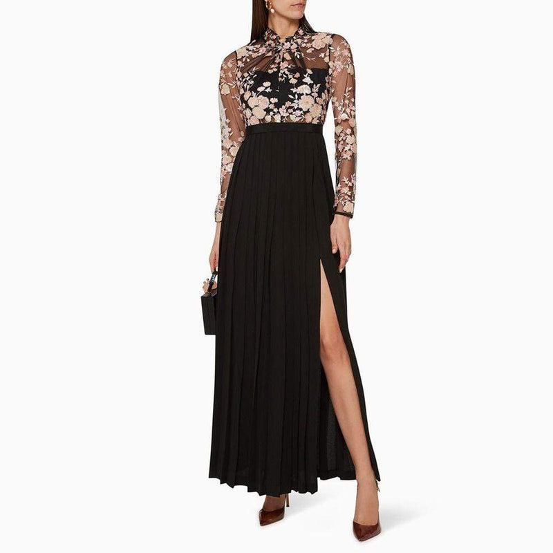 Self Portrait Midnight Floral Mesh Pleated Thigh Split Maxi Dress Zoom Boutique Store dress Self Portrait Midnight Floral Mesh Pleated Maxi Dress | Zoom Boutique