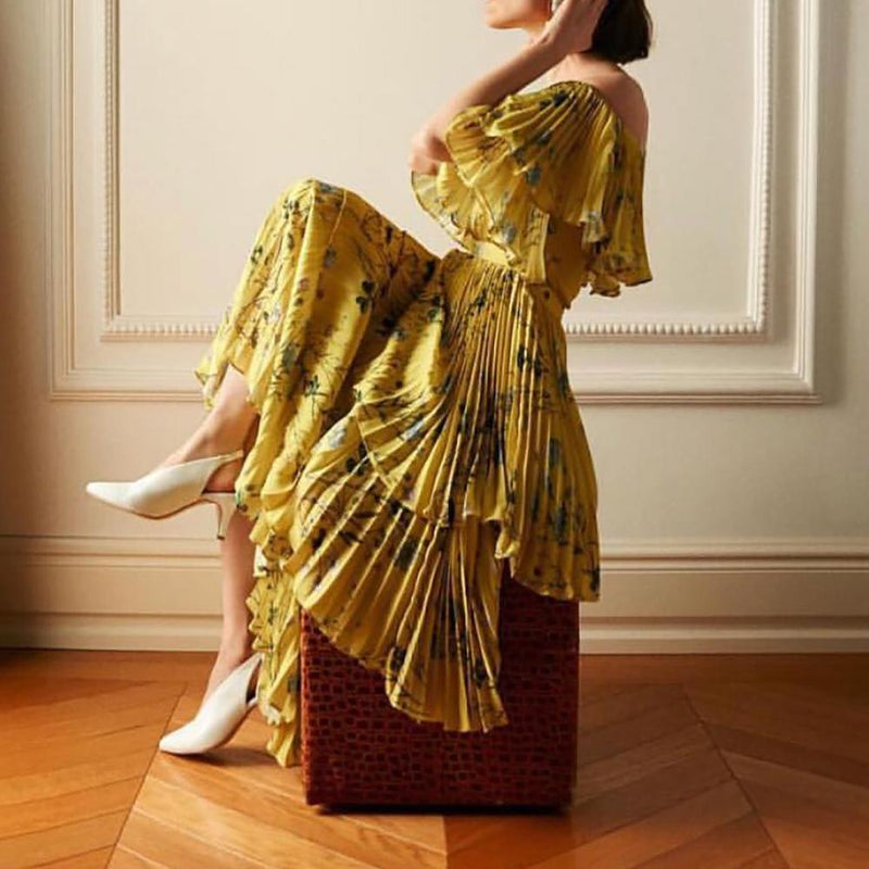 Self Portrait Off-the-Shoulder Floral Tier Pleated Maxi Dress $595 - Zoom Boutique Store