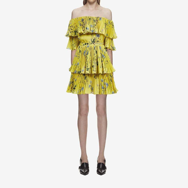 Self Portrait Off the Shoulder Floral Tier Pleated Mini Dress $450 Zoom Boutique Store dress