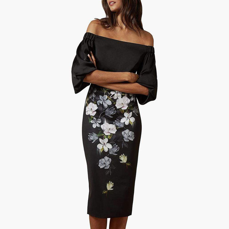 Ted Baker Adalli Off The Shoulder Opal Bodycon Dress RRP$295 - Zoom Boutique Store