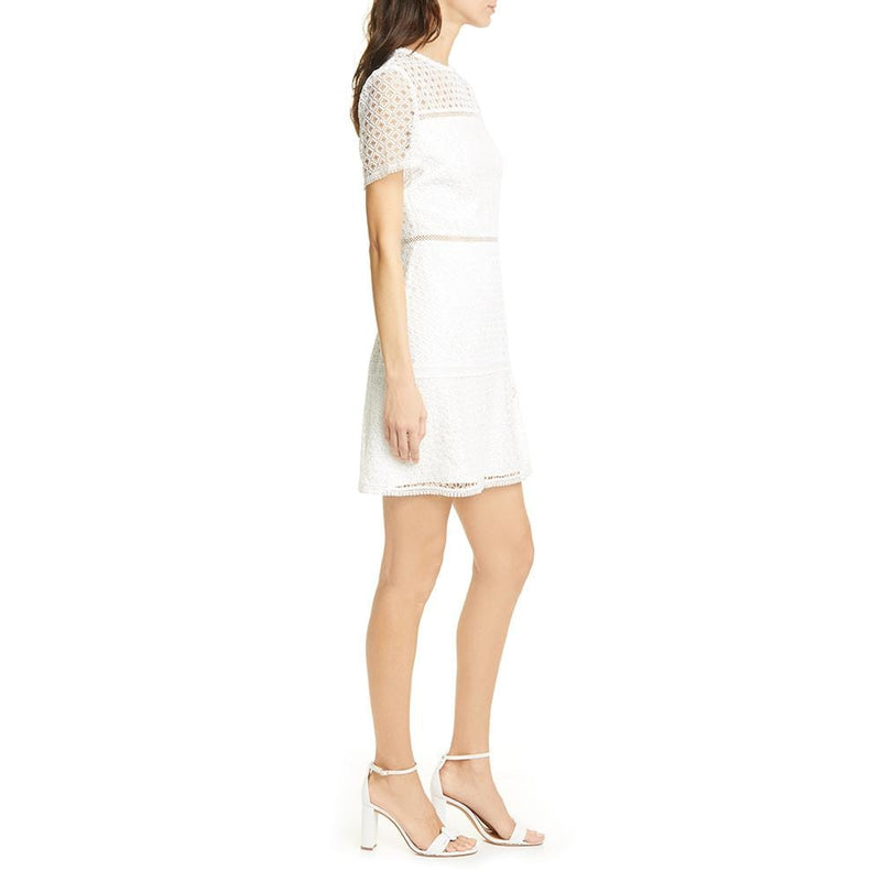 Ted Baker Allara Short Sleeve White Lace Mini Dress RRP$349 - Zoom Boutique Store