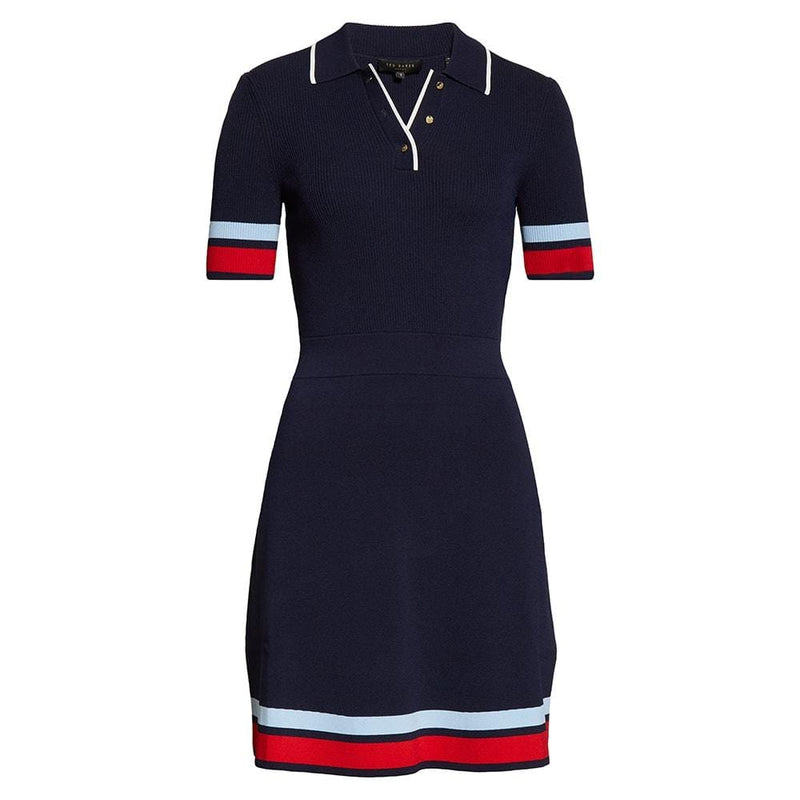 Ted Baker Blue Yniaa Stripe Detail Mockable Fitted Dress RRP$259 1 Zoom Boutique Store dress Ted Baker Blue Yniaa Stripe Detail Mockable Dress | Zoom Boutique