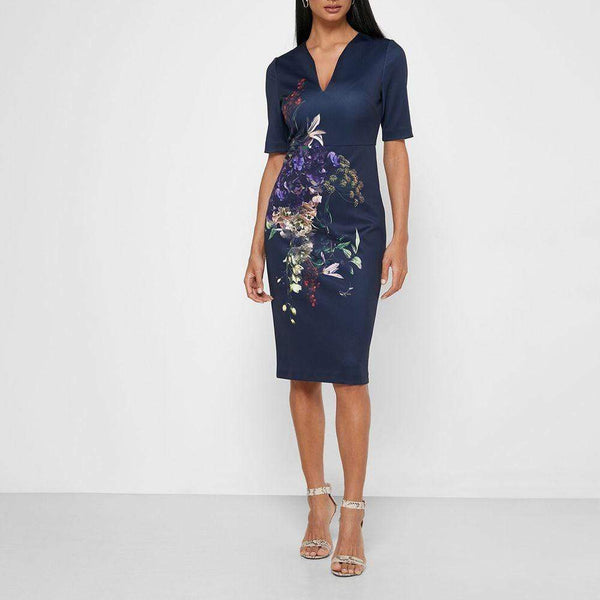 Ted Baker Carvir V Neck Half Sleeves Sheath Midi Bodycon Dress Zoom Boutique Store dress Ted Baker Carvir V Neck Half Sleeves Sheath Midi Dress | Zoom Boutique