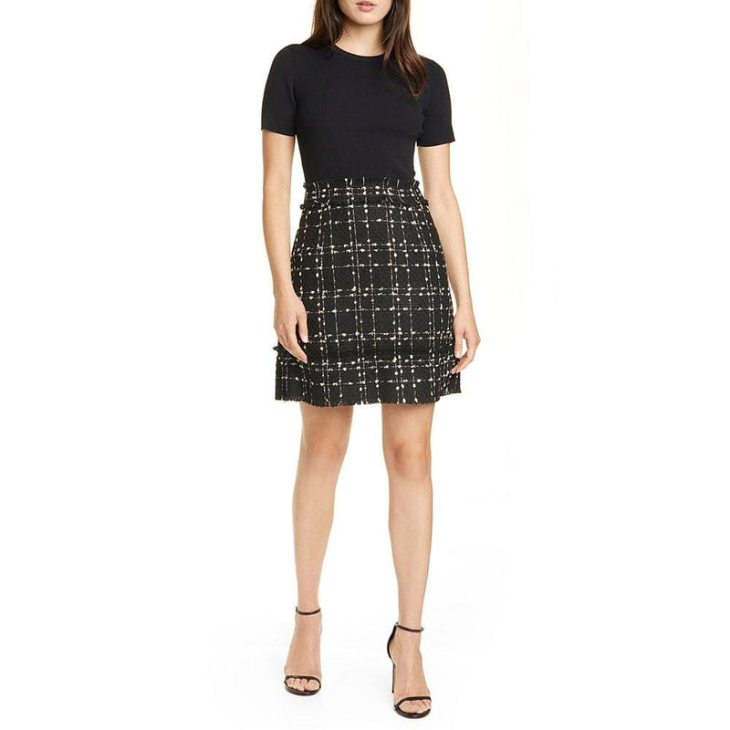 Ted Baker Charrad Metallic Ribbed Knit Bouclé Tweed Dress RRP$329 Zoom Boutique Store dress Ted Baker Charrad Metallic Ribbed Knit Bouclé Dress | Zoom Boutique