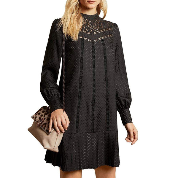 Ted Baker CHLLO Lace Detail Pleated Skirt High Neck Dress $349 0 Zoom Boutique Store dress