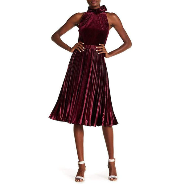 Ted Baker Cornela Bow Trim Pleated Velvet Midi Dress $295 1 / Red Zoom Boutique Store dress