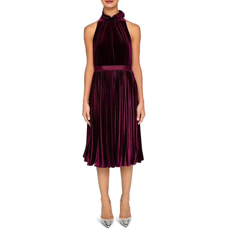 Ted Baker Cornela Bow Trim Pleated Velvet Midi Dress RRP$295 - Zoom Boutique Store