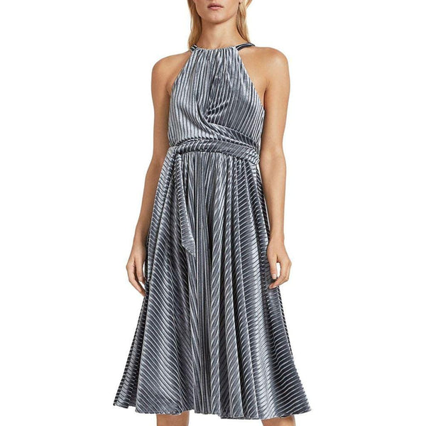 Ted Baker Cyleste Velvet Sleeveless Wrap Bodice Pleated Midi Dress Zoom Boutique Store dress Ted Baker Cyleste Velvet Wrap Pleated Midi Dress | Zoom Boutique