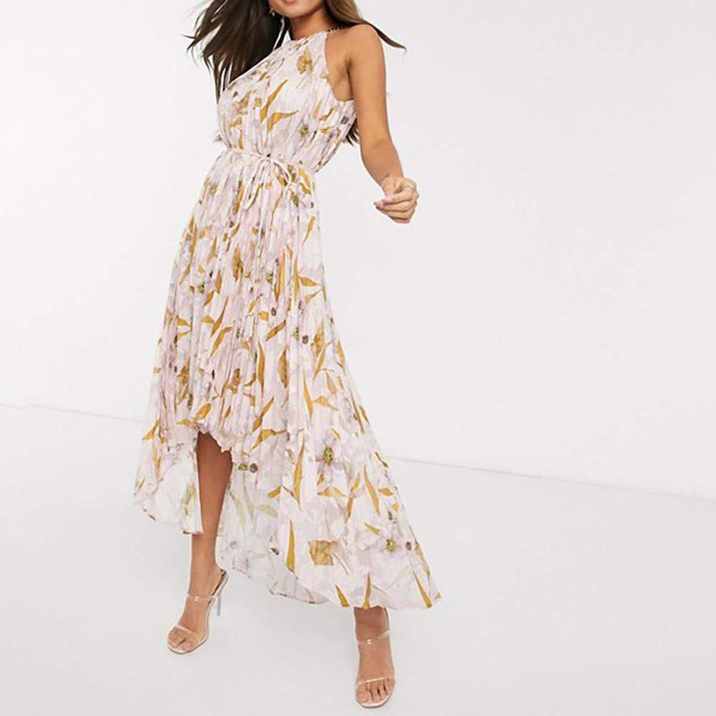 Ted Baker Dixxie Cabana Pleated Dip Hem Maxi Dress RRP$378 - Zoom Boutique Store