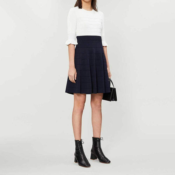 Ted Baker Dyana Jersey Frill Knitted Fit & Flare Dress $252 0 / navy blue Zoom Boutique Store dress