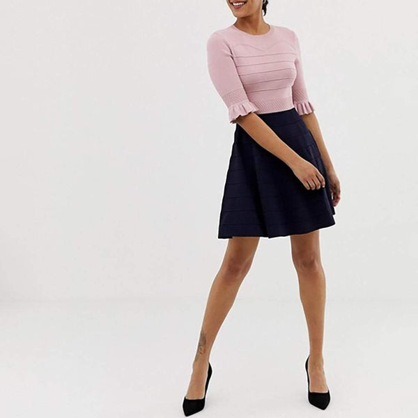 Ted Baker Dyana Jersey Frill Knitted Fit & Flare Dress $252 Zoom Boutique Store dress
