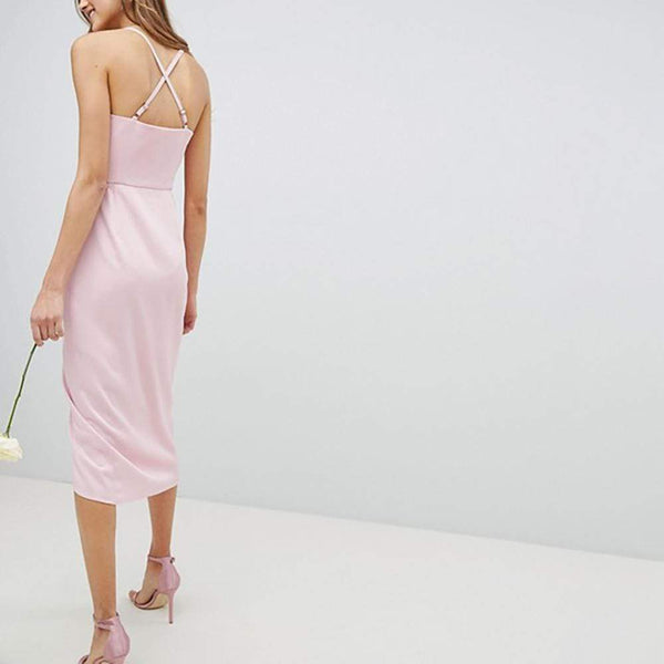Ted Baker Elyana Ruched Drape Bridesmaid Midi Dress $283 Zoom Boutique Store dress