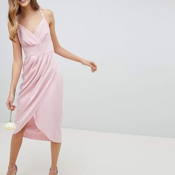 Ted Baker Elyana Ruched Drape Bridesmaid Midi Dress $283 2 Zoom Boutique Store dress