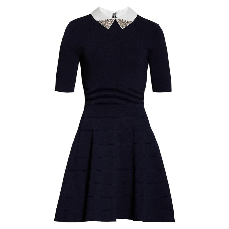 Ted Baker Embellished Collar Knit Fit & Flare Dress RRP$279 0 Zoom Boutique Store dress Ted Baker Embellished Collar Knit Fit & Flare Dress | Zoom Boutique