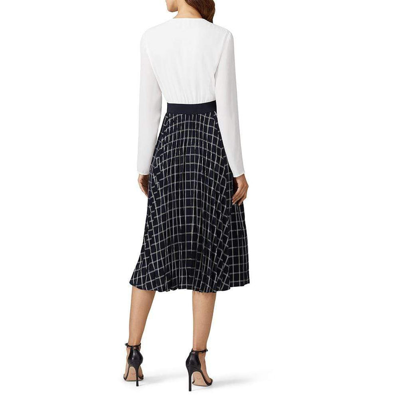 Ted Baker Fancesa V Neck Check Print Midi Dress RRP$395 - Zoom Boutique Store