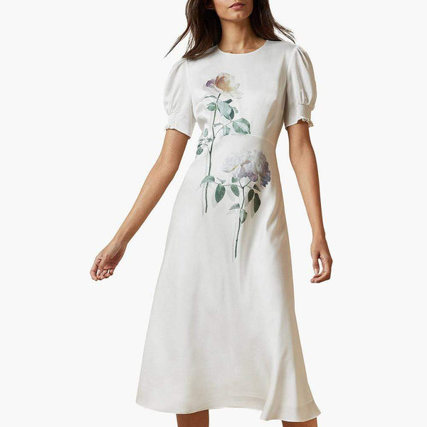 Ted Baker Fleu Bouquet Bias Floral Midi Cut Tea Dress RRP$315 - Zoom Boutique Store