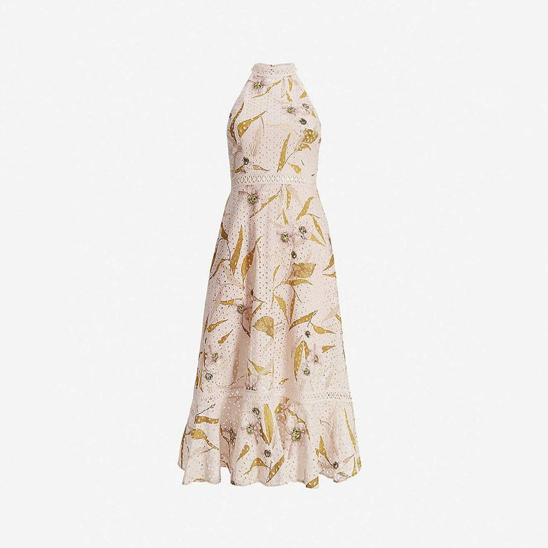 Ted Baker Floxyy Cabana Broderie Anglaise Halter Midi Dress RRP$362 0 Zoom Boutique Store dress Ted Baker Floxyy Cabana Broderie Anglaise Halter Dress | Zoom Boutique
