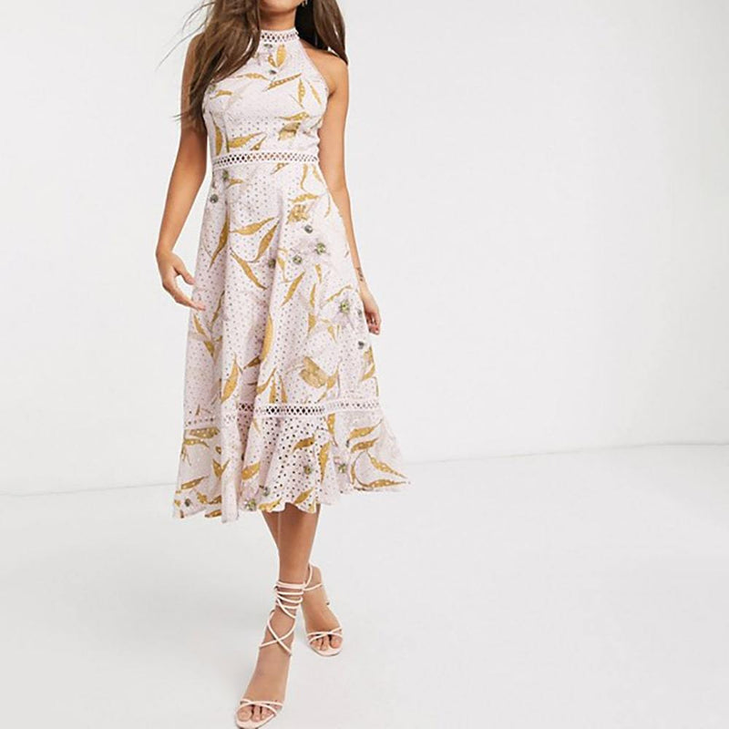 Ted Baker Floxyy Cabana Broderie Anglaise Halter Midi Dress RRP$362 Zoom Boutique Store dress Ted Baker Floxyy Cabana Broderie Anglaise Halter Dress | Zoom Boutique
