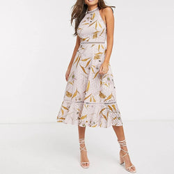 Ted Baker Floxyy Cabana Broderie Anglaise Halter Midi Jurk RRP $ 362 Zoom Boutique Store Jurk Ted Baker Floxyy Cabana Broderie Anglaise Halter Jurk | Zoom Boutique