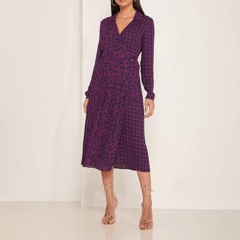 Ted Baker Folita All Over Print Pleated Wrap Midi Dress RRP$239 - Zoom Boutique Store