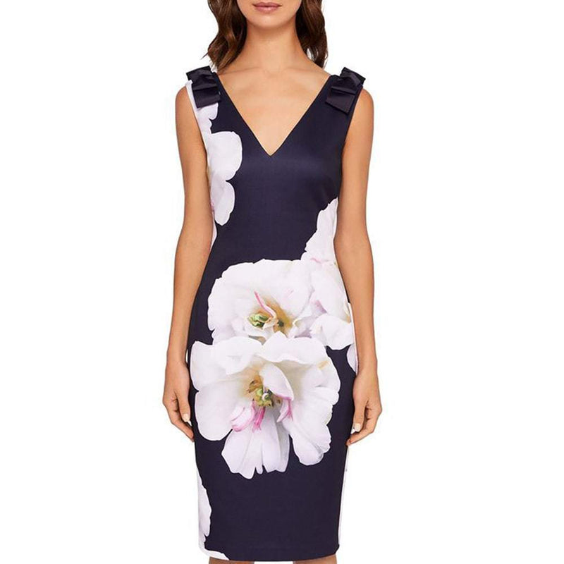 Ted Baker Gardenia Soleia Bow Shoulder Bodycon Midi Dress RRP$295 Zoom Boutique Store dress Ted Baker Gardenia Soleia Bow Shoulder Bodycon Dress | Zoom Boutique