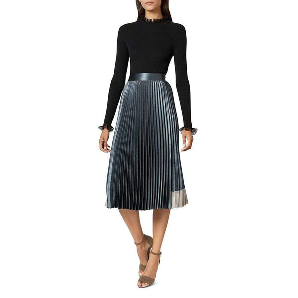 Ted Baker Glaycie Contrast Panel Pleated Midi Skirt $245 Zoom Boutique Store skirt