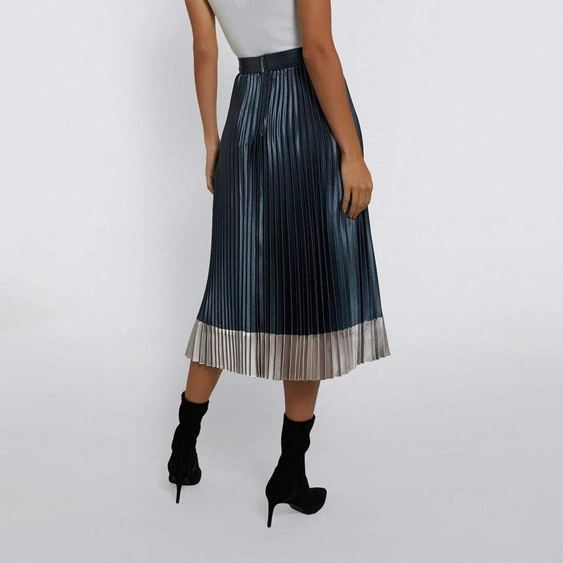 Ted Baker Glaycie Contrast Panel Pleated Midi Skirt $245 - Zoom Boutique Store