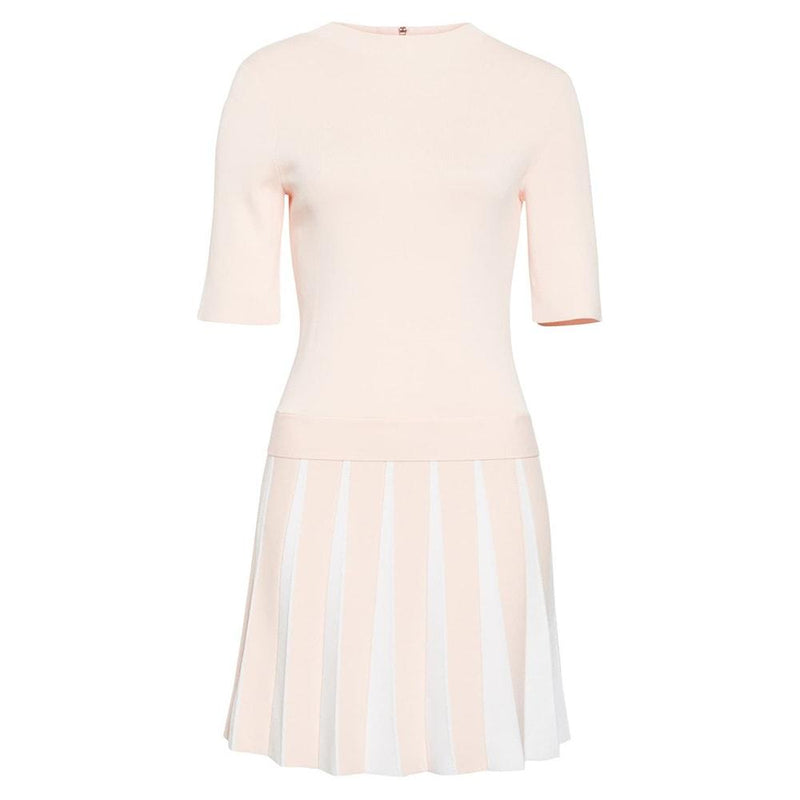 Ted Baker Hethia Pleat Knit Layered Short Sleeves Dress RRP$259 0 / Pink Zoom Boutique Store dress Ted Baker Hethia Pleat Knit Layered Dress | Zoom Boutique