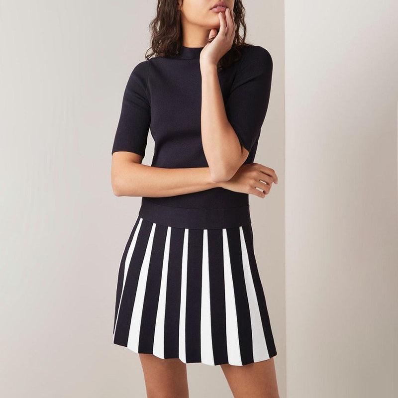 Ted Baker Hethia Pleat Knit Layered Short Sleeves Dress RRP$259 Zoom Boutique Store dress Ted Baker Hethia Pleat Knit Layered Dress | Zoom Boutique