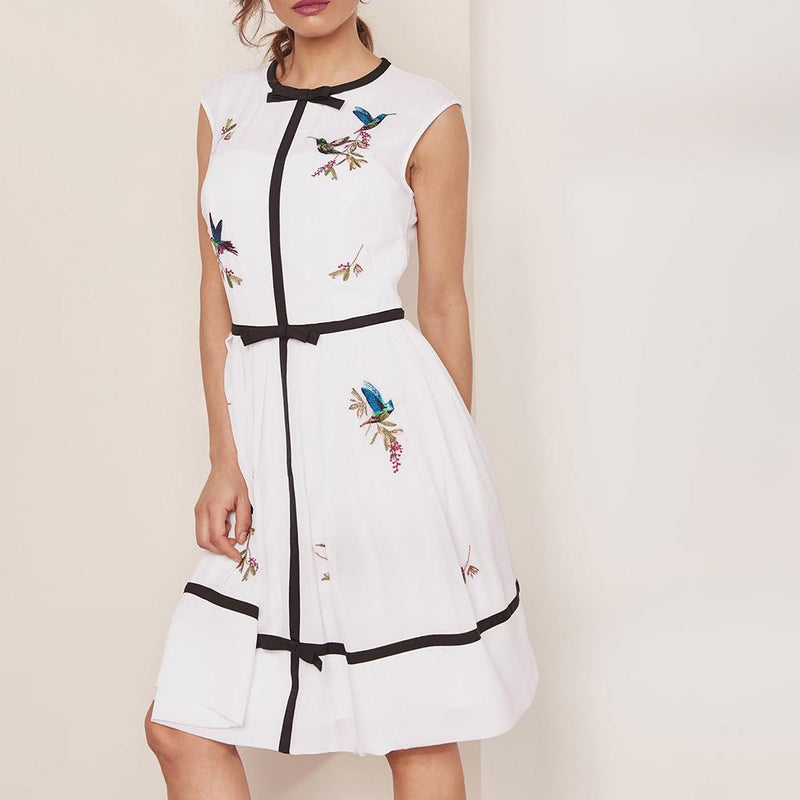 Ted Baker IINA Highgrove Embroidered Bow Detail Dress RRP$395 - Zoom Boutique Store