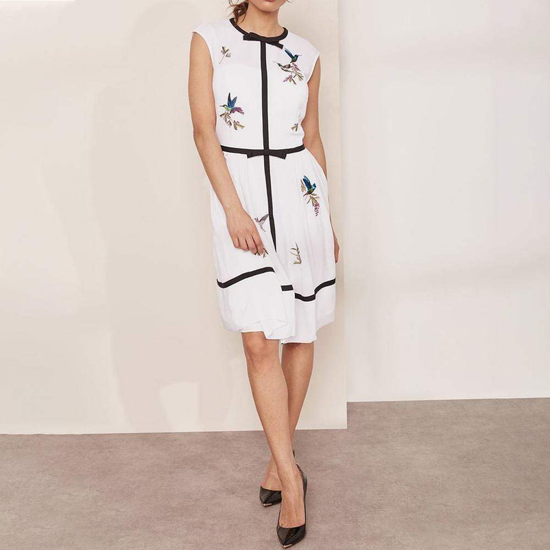 Ted Baker IINA Highgrove Embroidered Bow Detail Dress $395 - Zoom Boutique Store