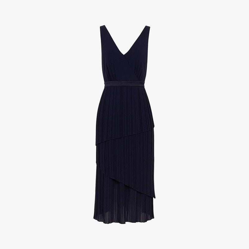 Ted Baker Ionaa Melodi Pleated Tired V Neck Midi Dress 1 / Navy Zoom Boutique Store dress Ted Baker Ionaa Melodi Pleated Tired V Neck Midi Dress | Zoom Boutique