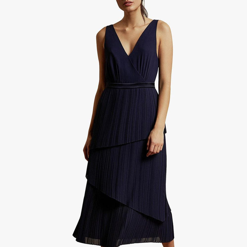Ted Baker Ionaa Melodi Pleated Tired V Neck Midi Dress Zoom Boutique Store dress Ted Baker Ionaa Melodi Pleated Tired V Neck Midi Dress | Zoom Boutique