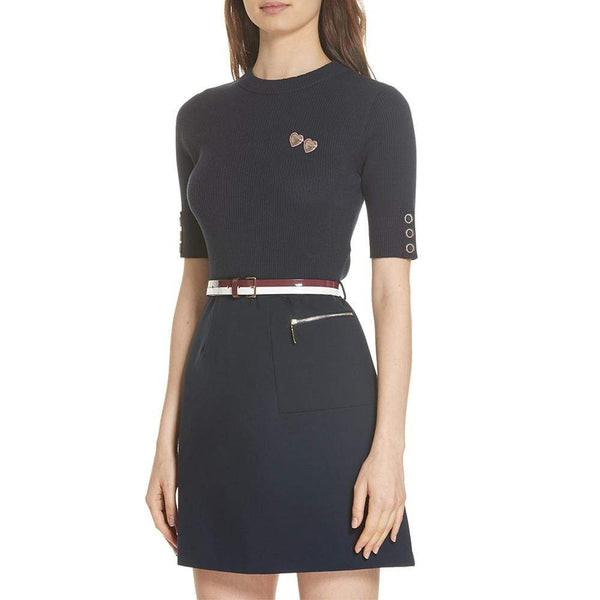 Ted Baker Knitted ELSBETH A Line Floral Brooch Dress $295 0 Zoom Boutique Store dress