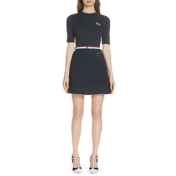 Ted Baker Knitted ELSBETH A Line Floral Brooch Dress $295 Zoom Boutique Store dress