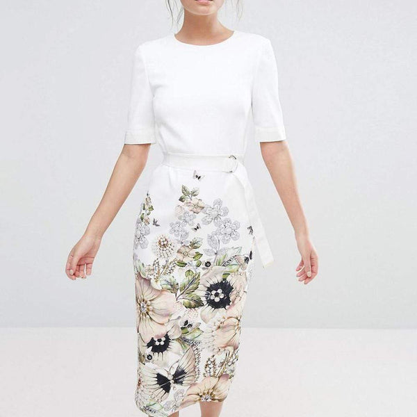 Ted Baker Layli Gem Gardens Crepe Tailored Dress $315 1 Zoom Boutique Store dress