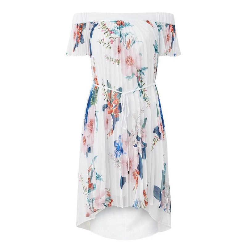 Ted Baker Luner Jamboree Pleated Bardot High Low Dress RRP$362 0 Zoom Boutique Store dress Ted Baker Luner Jamboree Pleated Bardot High Low Dress | Zoom Boutique