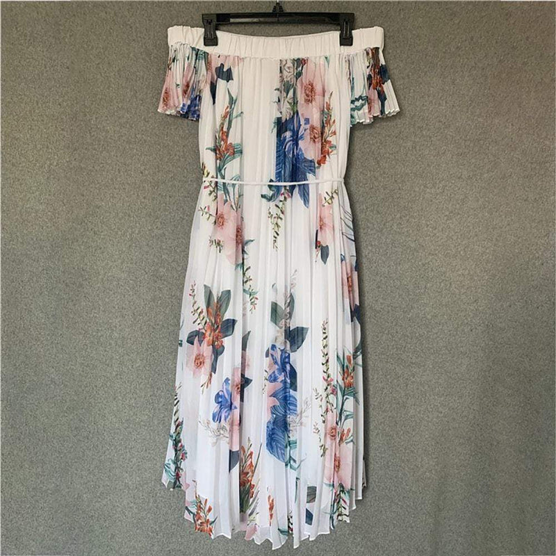Ted Baker Luner Jamboree Pleated Bardot High Low Dress RRP$362 Zoom Boutique Store dress Ted Baker Luner Jamboree Pleated Bardot High Low Dress | Zoom Boutique