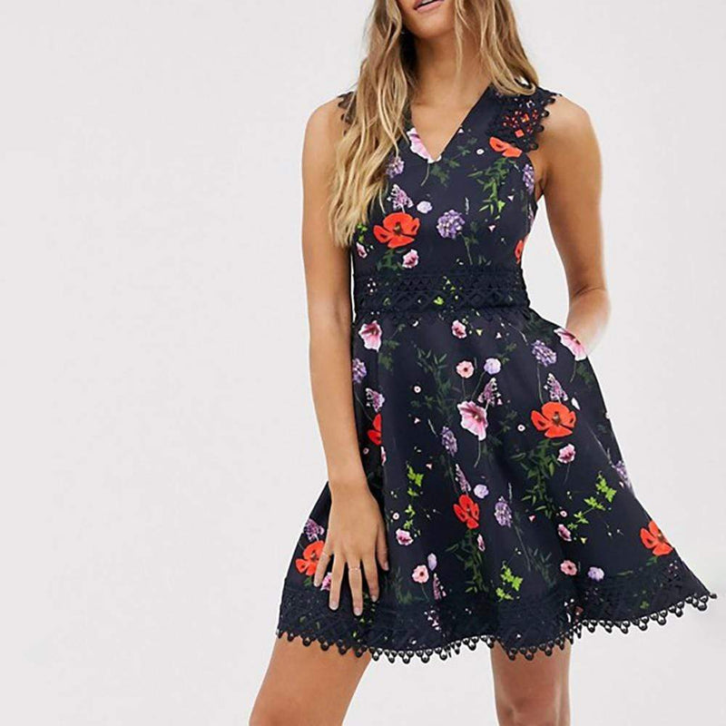 Ted Baker Mayo Hedgerow Lace Trim Skater Dress $236 - Zoom Boutique Store