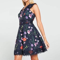 Ted Baker Mayo Hedgerow Lace Trim Skater Dress RRP$236 - Zoom Boutique Store