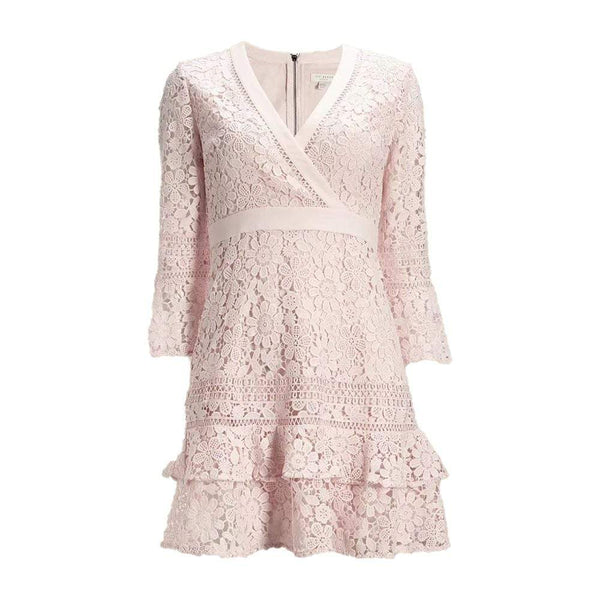 Ted Baker Nello Multi Lace V Neck Layered Tunic Dress $295 0 Zoom Boutique Store dress
