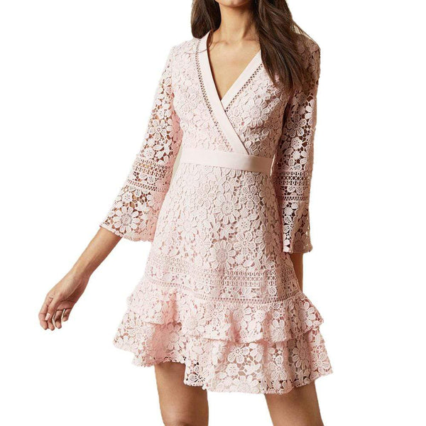 Ted Baker Nello Multi Lace V Neck Layered Tunic Dress $295 Zoom Boutique Store dress