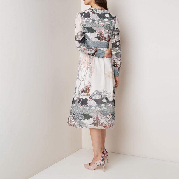 Ted Baker Nynina Willow Print Midi Dress RRP$298 Zoom Boutique Store dress Ted Baker Nynina Willow Print Midi Dress | Zoom Boutique