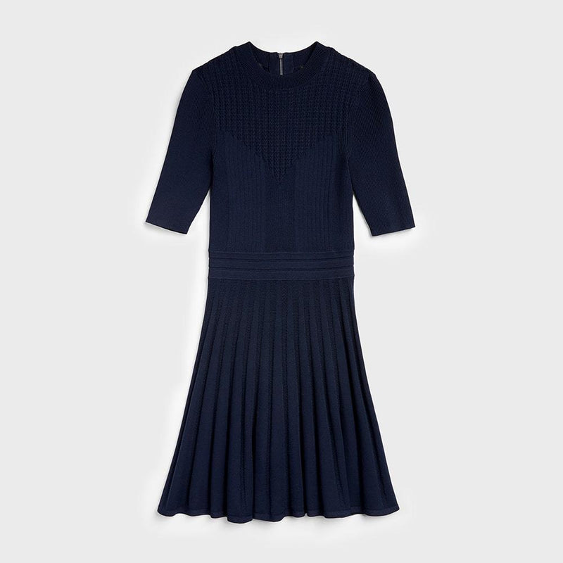 Ted Baker Olivinn Mix Stitch Fit & Flare Sweater Dress RRP$259 0 / Blue Zoom Boutique Store dress Ted Baker Olivinn Mix Stitch Fit & Flare Sweater Dress | Zoom Boutique