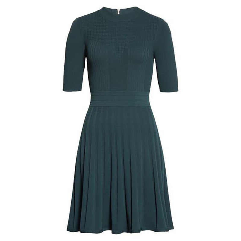 Ted Baker Olivinn Mix Stitch Fit & Flare Sweater Dress RRP$259 0 / Green Zoom Boutique Store dress Ted Baker Olivinn Mix Stitch Fit & Flare Sweater Dress | Zoom Boutique