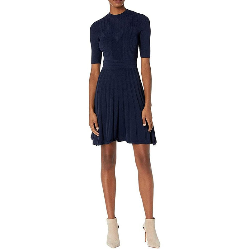 Ted Baker Olivinn Mix Stitch Fit & Flare Sweater Dress RRP$259 Zoom Boutique Store dress Ted Baker Olivinn Mix Stitch Fit & Flare Sweater Dress | Zoom Boutique
