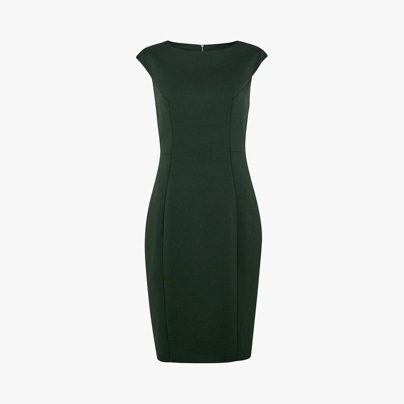 Ted Baker Pelagai Boat Neck Sheath Midi Dress RRP$379 0 / Green Zoom Boutique Store dress Ted Baker Pelagai Boat Neck Sheath Midi Dress | Zoom Boutique