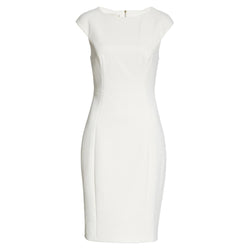 Ted Baker Pelagai Boat Neck Sheath Midi Dress RRP$379 0 / White Zoom Boutique Store dress Ted Baker Pelagai Boat Neck Sheath Midi Dress | Zoom Boutique